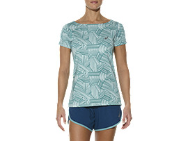 PRINTED SHORT SLEEVE TOP, Brush Soothing Sea