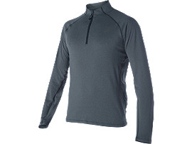 LANGARMSHIRT MIT REISSVERSCHLUSS , Performance Black Heather