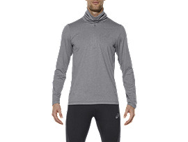 THERMOPOLIS TOP MET LANGE MOUWEN EN HALVE RITS, Dark Grey Heather