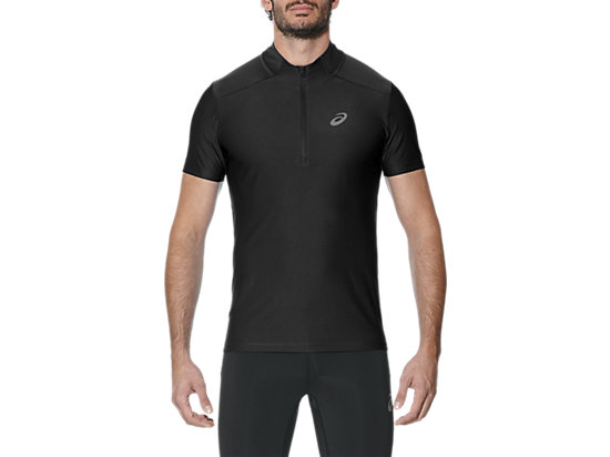 SS 1/2 ZIP TOP, Performance Black