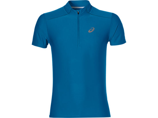 SS 1/2 ZIP TOP, Thunder Blue