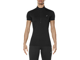 SHORT-SLEEVED HALF-ZIP TOP, Performance Black