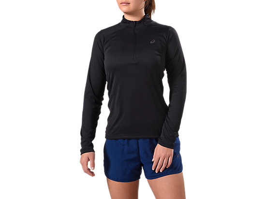LONG-SLEEVED 1/2 ZIP TOP, PERFORMANCE BLACK