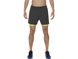 "2-IN-1 LAUFSHORTS 5"", Dark Grey/Sulphur Spring"