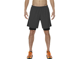2-IN-1 7-INCH RUNNING SHORTS, Dark Grey/Performance Black