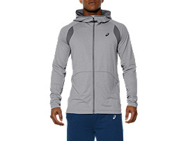 FULL ZIP HOODIE, Heather Grey