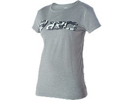 GRAPHIC SHORT SLEEVE TOP, Heather Grey