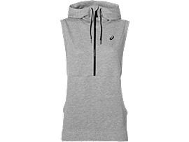 TRAININGS-HOODIE OHNE ÄRMEL FÜR DAMEN, Heather Grey