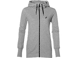 TRAININGS-HOODIE MIT REISSVERSCHLUSS FÜR DAMEN, Heather Grey