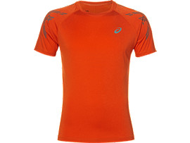 ASICS STRIPE SS TOP, Red Clay