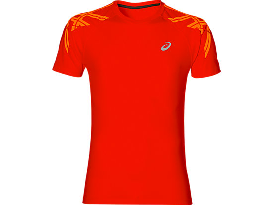 ASICS STRIPE SS TOP, Fiery Red