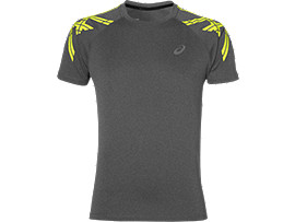 ASICS STRIPE SS TOP, Dark Grey Heather