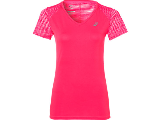 FUZEX V-NECK SS TOP, Diva Pink