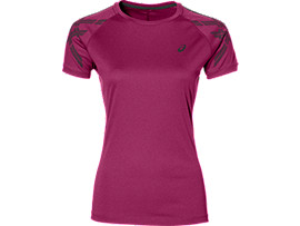 ASICS STRIPE SS TOP, Prune Heather