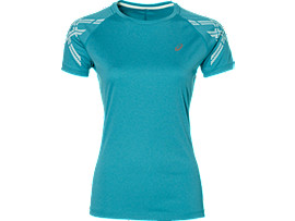 ASICS STRIPE SS TOP, Arctic Aqua Heather