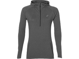 SUDADERA CON CAPUCHA DE RUNNING DE MANGA LARGA PARA MUJER, Dark Grey Heather