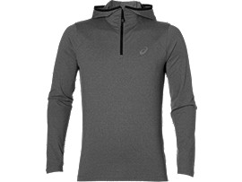 SUDADERA CON CAPUCHA DE RUNNING Y MANGA LARGA PARA HOMBRE, Dark Grey Heather