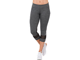 MELANGE 3/4 TIGHT, PERFORMANCE BLACK HEATHER