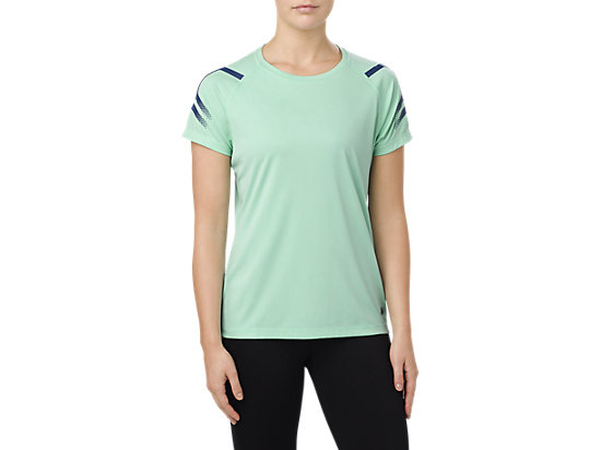 ICON SS TOP, OPAL GREEN HEATHER
