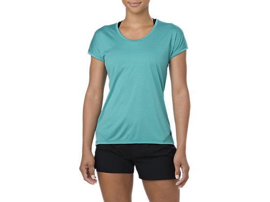 CAPSLEEVE TOP, LAKE BLUE HEATHER