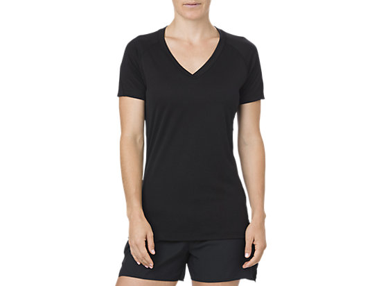 V-NECK SS TOP, Performance Black