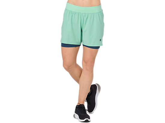 2-in-1 5,5 inch hardloopshort voor dames, OPAL GREEN HEATHER