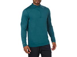Sudadera con capucha de running y manga larga para hombre, BLUE STEEL HEATHER
