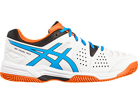 GEL-PADEL PRO 3 SG VOOR HEREN, White/Diva Blue/Shocking Orange