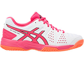 GEL-PADEL PRO 3 SG VOOR DAMES, White/Rouge Red/Flash Coral