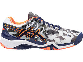 GEL-RESOLUTION 7 L.E. MELBOURNE, White/Indigo Blue/Hot Orange