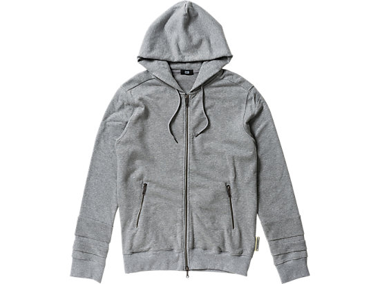 FELPA CON CAPPUCCIO E ZIP, Heather Gray