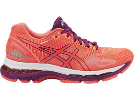 GEL-NIMBUS 19 VOOR DAMES, Flash Coral/Dark Purple/White