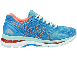 GEL-NIMBUS 19 VOOR DAMES, Diva Blue/Flash Coral/Aqua Splash