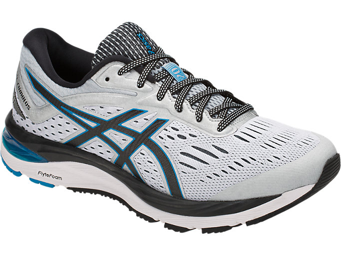 Front Right view of GEL-CUMULUS 20, GLACIER GREY/BLACK