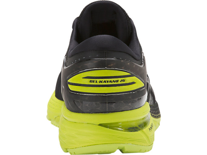 Back view of GEL-KAYANO 25, BLACK/NEON LIME