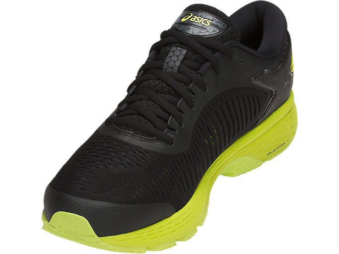 Front Left view of GEL-KAYANO 25, BLACK/NEON LIME