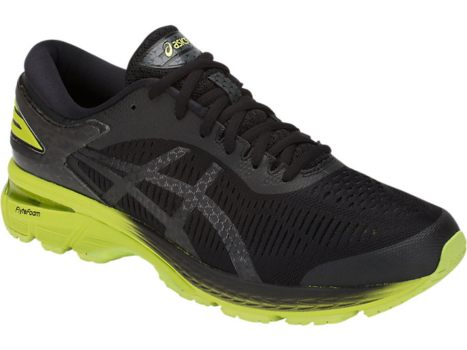 Front Right view of GEL-KAYANO 25, BLACK/NEON LIME