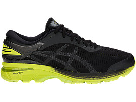 Right side view of GEL-KAYANO 25, BLACK/NEON LIME