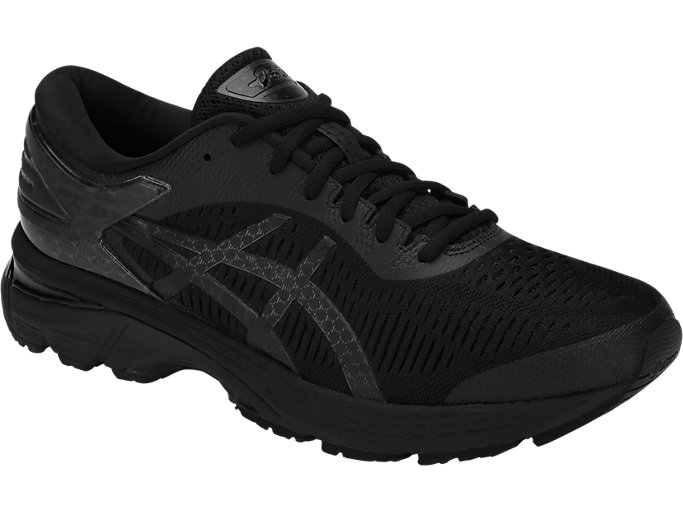 Front Right view of GEL-KAYANO 25, BLACK/BLACK