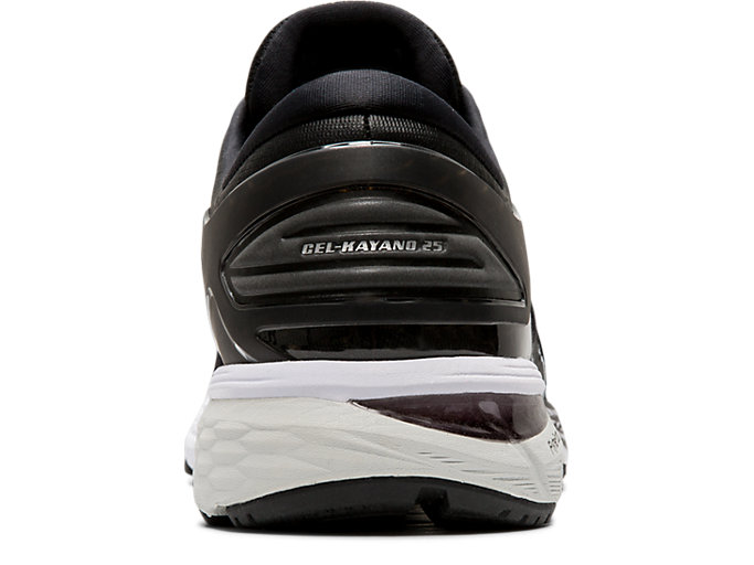 Back view of GEL-KAYANO 25, BLACK/GLACIER GREY