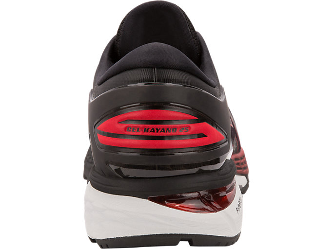 Back view of GEL-KAYANO 25, BLACK/CLASSIC RED