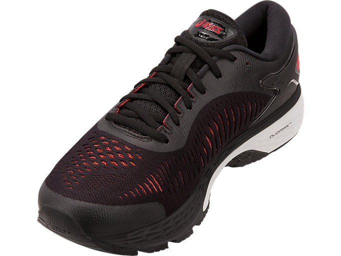 Front Left view of GEL-KAYANO 25, BLACK/CLASSIC RED