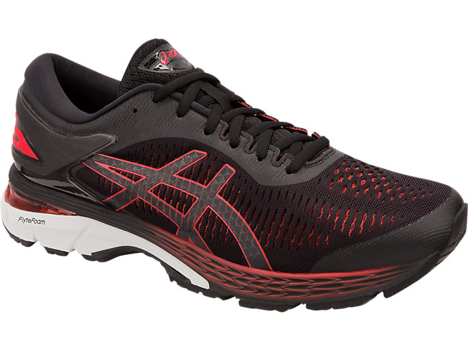 Front Right view of GEL-KAYANO 25, BLACK/CLASSIC RED