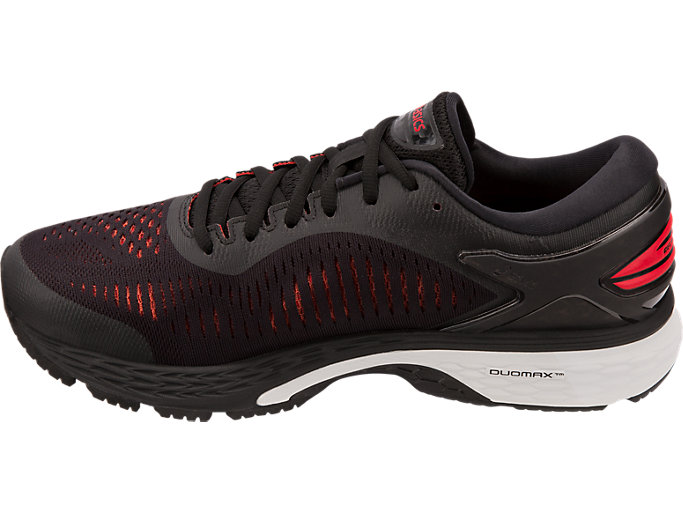 Left side view of GEL-KAYANO 25, BLACK/CLASSIC RED