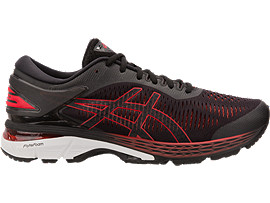 Right side view of GEL-KAYANO 25, BLACK/CLASSIC RED