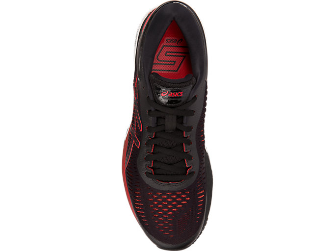 Top view of GEL-KAYANO 25, BLACK/CLASSIC RED