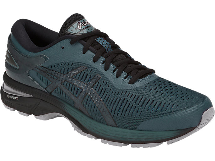 Front Right view of GEL-KAYANO 25, IRONCLAD/BLACK