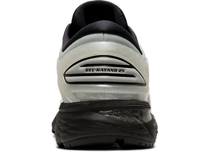 Back view of GEL-KAYANO 25, GLACIER GREY/BLACK
