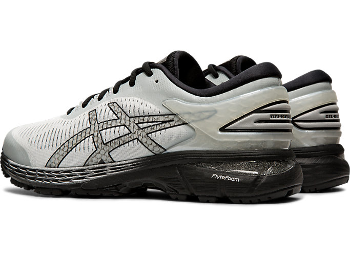 Front Left view of GEL-KAYANO 25, GLACIER GREY/BLACK