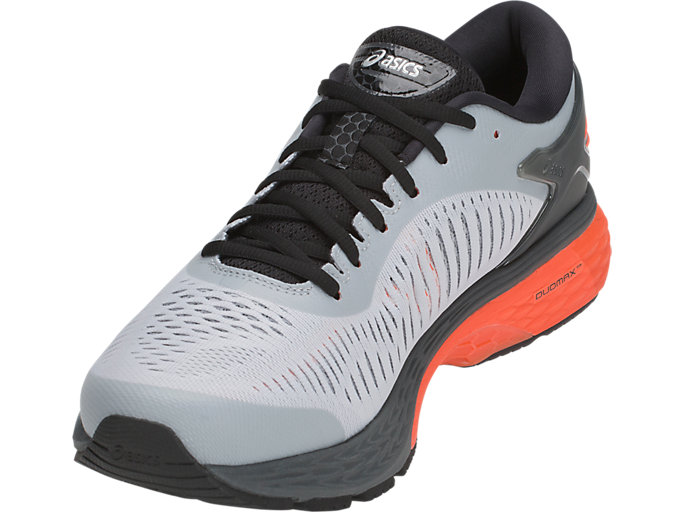 Front Left view of GEL-KAYANO 25, MID GREY/RED SNAPPER